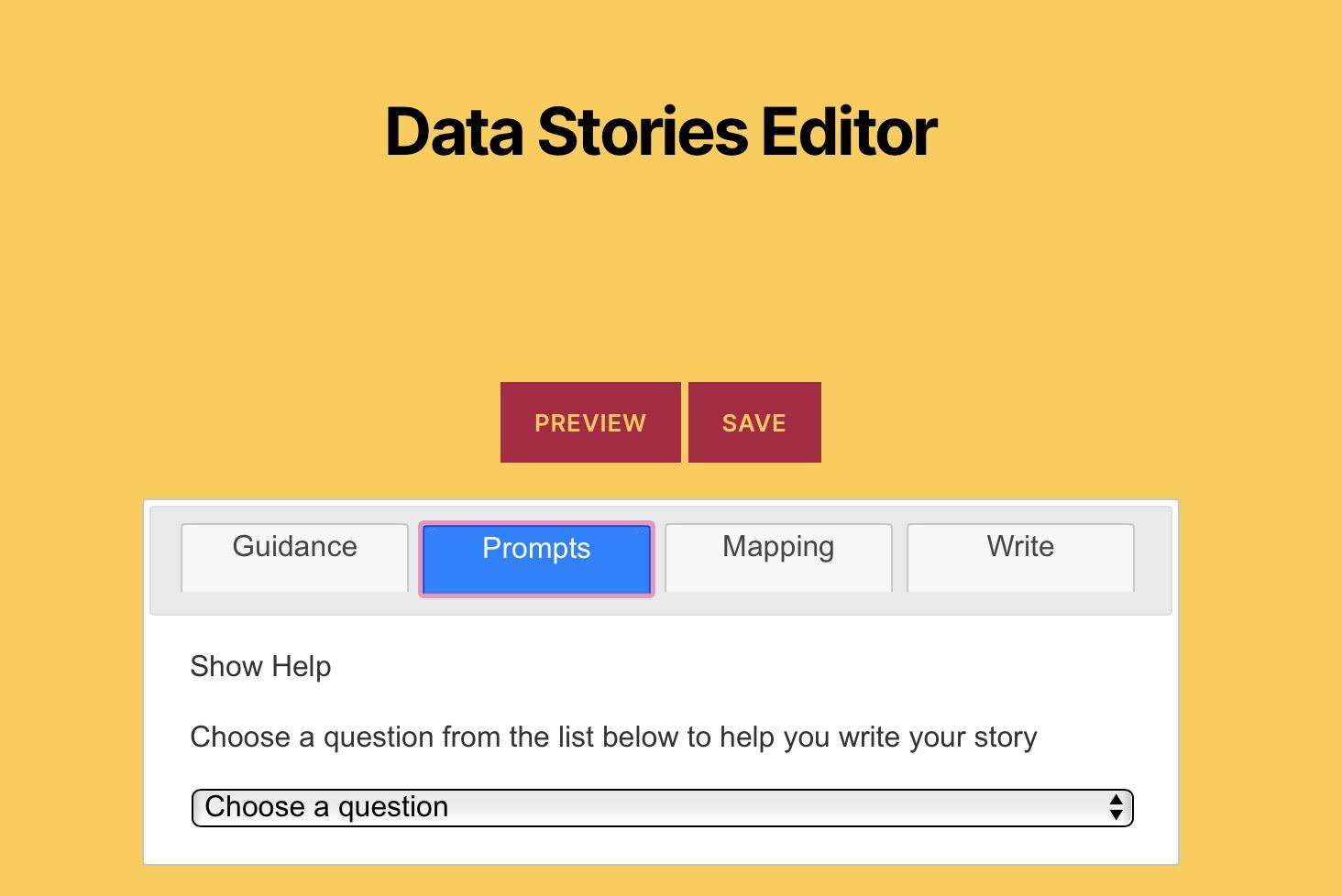 Data Stories creator interface