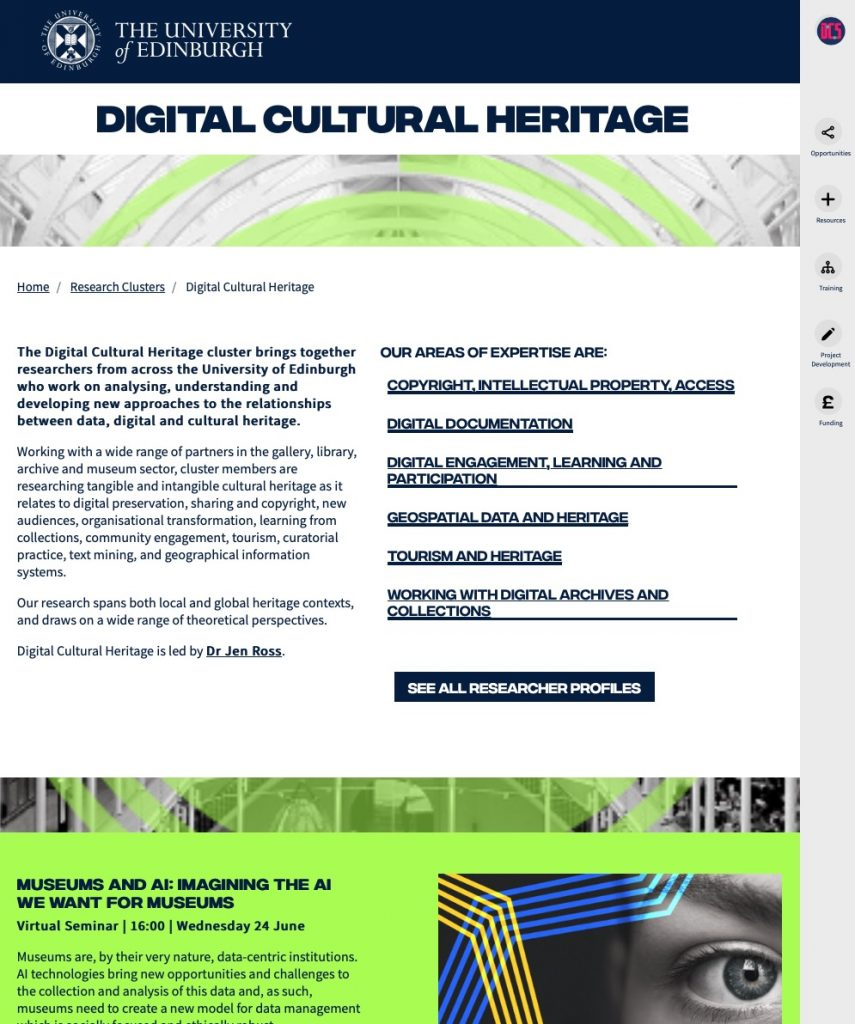 Digital Cultural Heritage cluster home page